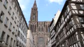 petite france : STRASBOURG, FRANCE - CIRCA 2016:  View from Rue Merciere to the Strasbourg Cathedral or the Cathedral of Our Lady of Strasbourg, Cathedrale Notre-Dame de Strasbourg