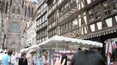 petite france : STRASBOURG, FRANCE - CIRCA 2016:  Chinese couple taking photo from Rue Merciere to the Strasbourg Cathedral or the Cathedral of Our Lady of Strasbourg, Cathedrale Notre-Dame de Strasbourg