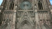 petite france : Panning to the Strasbourg Cathedral or the Cathedral of Our Lady of Strasbourg, Cathedrale Notre-Dame de Strasbourg Stock Footage