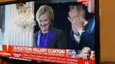 donald trump : PARIS, FRANCE - NOV 9, 2016: TV breaking news of Hillary Clinton and Bill Clinton after US President Elections as Donald Trump is the 45th President of United States of America