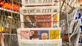 donald trump : PARIS, FRANCE - JAN 21, 2017: Die Zeit, Bild, Suddeutsche Zeitung, Neue Burcher Zeitung, Taz am wochenende German newspaper from a newsstand featuring headlines with Donald Trump inauguration as the 45th President of the United States in Washington, D.C Stock Footage