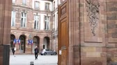 polling place : STRASBOURG, FRANCE - MAY 7, 2017: French Hotel de Ville gate entrance polling station during the second round of the French presidential election to choose between Emmanuel Macron and Marine Le Pen