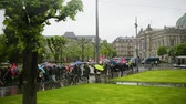 participante : STRASBOURG, FRANCE - MAY 12, 2016: Peaceful march as  thousand of people demonstrate as part of nationwide day of protest against labor reforms by France Government