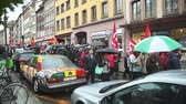 kuvvet : STRASBOURG, FRANCE - MAY 12, 2016: Retract labor law as thousand of people demonstrate as part of nationwide day of protest against labor reforms by France Government