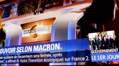 presidential candidate : Paris, France - Circa 2017: Television show with braking news of the first day of the French Government of Emmanuel macron president and Edouard Philippe