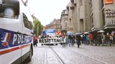 macron government : STRASBOURG, FRANCE - SEPT 12, 2017: Demonstrators with Resistance banner at political march during a French Nationwide day of protest against the labor reform proposed by Emmanuel Macron Government Stock Footage