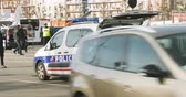 extremism : STRASBOURG, FRANCE - NOV 14 2015: French Police car  and officers checking vehicles zoom out vehicle on the border between Strasbourg and Kehl Germany, as a security measure after attacks in Paris