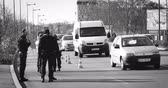 measures : STRASBOURG, FRANCE - NOV 14 2015: French Police car  and officers checking vehicles on the border between Strasbourg and Kehl Germany, as a security measure in the wake of attacks in Paris