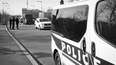extremism : STRASBOURG, FRANCE - NOV 14 2015 Slow motion French Police car  and officers checking vehicles on the border between Strasbourg and Kehl Germany, as a security measure in the wake of attacks in Paris
