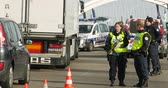 extremism : STRASBOURG, FRANCE - NOV 14 2015: French German Police checking vehicles on the border between Strasbourg and Kehl Germany, as a security measure in the wake of attacks in Paris