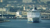 visto : Marseille, France - Circa 2017: Girolata, large ferry ship owned by La Meridionale exits Marseille exits Marseille-Fos Port Destination Corsica island. Large ferry transporting people, cars, trucks Vídeos