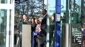 officials : STRASBOURG, FRANCE - OCT 31, 2017: ECHR and CoE Employees waiting for Emmanuel Macron French President during official visit at the European Court of Human Rights in Strasbourg