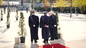 official visit : STRASBOURG, FRANCE - OCT 31, 2017: Rear view of European Court of Human Rights president Guido Raimondi (c) next to French judge Andre Potocki (l) and the registrar Roderick Liddell (r), Macron visit