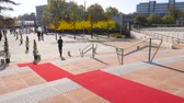 european court of human rights : STRASBOURG, FRANCE - OCT 31, 2017: Red carpet on the stairs of European Court of Human Rights in Strasbourg ready for official delegation and visits of Emmanuel macron French President