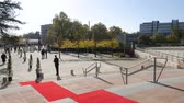 halı : STRASBOURG, FRANCE - OCT 31, 2017: Red carpet on the stairs of European Court of Human Rights in Strasbourg ready for official delegation and visits of Emmanuel macron French President