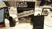 promocional : PARIS, FRANCE - CIRCA 2017: POV point of view of male buying Kobo e-reader tablet with special offer during Black Friday inside FNAC French technology retail store