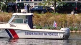 seminário : STRASBOURG, FRANCE - APR 17, 2018: National Gendarmerie boat near European Parliament facade during Emmanuel Macron, visit in a bid to shore up support for his ambitious plans for post-Brexit reforms of EU