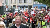 french communist party : STRASBOURG, FRANCE - SEP 12, 2018: Thousands marching on French street at French Nationwide day of protest against labor reform proposed by Emmanuel Macron Government