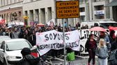 kryzys : STRASBOURG, FRANCE - SEP 12, 2018: Lets be revolutionary placard banner at French Nationwide day of protest against labor reform proposed by Emmanuel Macron Government Wideo