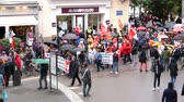 kryzys : STRASBOURG, FRANCE - SEP 12, 2018: Black bloc at French Nationwide day of protest against labor reform proposed by Emmanuel Macron Government - view from above