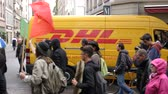 french communist party : STRASBOURG, FRANCE - SEP 12, 2018: DHL van at French Nationwide day of protest against labor reform proposed by Emmanuel Macron Government