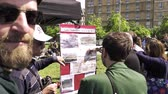 french communist party : STRASBOURG, FRANCE - MAY 5, 2018: Man explaining pov over the construction in Notre-Dame-des-Landes of the controversial airport Stock Footage