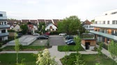 paris suburb : SCHILTIGHEIM, STRASBOURG - CIRCA 2018: View from above of a living neighborhood in Schiltigheim commune near Strasbourg with apartment houses and luxury villas - aerial view still drone Stock Footage