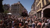 menšina : FRANCE - JUN 10, 2017: VHS effect over French street thousands people jumping dancing gay supporters with rainbow flag slow motion Lesbian Gay Bisexual Transgender LGBT GLBT visibility march pride