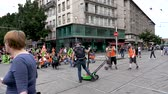 bağırmak : STRASBOURG, FRANCE - JUN 20, 2018: Closed street by SNCF French train worker demonstration strike protest against Macron French government string of reforms Stok Video