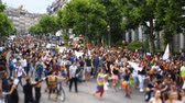 igualdade : STRASBOURG, FRANCE - JUN 10, 2017: Tilt-shift lens used to capture the crowd at gay pride