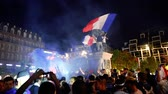alsace : STRASBOURG, FRANCE - JULY 10, 2018: Happy ambiance on Central Place Kleber after the victory of France qualify for the final of the 2018 FIFA World Cup after their victory over Belgium 1-0