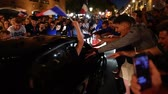 belçika : STRASBOURG, FRANCE - JULY 10, 2018: French fans erupt with joy shaking cars in central Strasbourg - France wins its semi-final World Cup match against Belgium