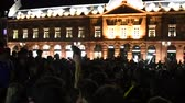 place kleber : STRASBOURG, FRANCE - JULY 10, 2018: Soccer fans celebrating in Central Place Kleber after the victory of France qualify for the final of the 2018 FIFA World Cup after their victory over Belgium 1-0