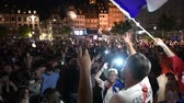 belçika : STRASBOURG, FRANCE - JULY 10, 2018: Crowd of fans singing La Marseillaise after the victory of France qualify for the final of the 2018 FIFA World Cup after their victory over Belgium 1-0