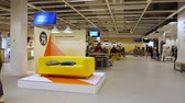szwecja : DELFT, NETHERLANDS - CIRCA 2018: Service client area with hero object yellow sofa and Ikea 75 years logotype anniversary