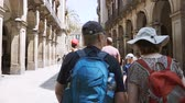 europa : BARCELONA, SPAIN - CIRCA 2018: Rear view of father daughter pedestrians locals and tourists walking on the Carrer de Colom to the Placa Reial slow motion slowmotion Stock Footage
