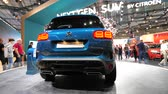 motor show : PARIS, FRANCE - OCT 4, 2018: Customers and curious people admiring the new new electric plug in Citroen SUV c5 Aircross hybrid at International car exhibition Mondial Paris Motor Show, model produced by Peugeot car maker Stock Footage