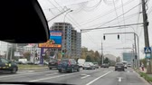 bieda : CHISINAU, MOLDOVA - NOV 2018: Driver POV on the Ciuflea street near the center of Chisinau - travel to the ex-sovietic Capital of Moldova