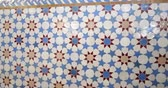 arabesco : Pan from left to right over beautifully crafted arranged pattern of tiles inside the Strasbourg Great Mosque or Grande Mosquee de Strasbourg