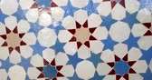 arabesco : Close-up rotation over beautifully crafted arranged patter of tiles inside the Strasbourg Great Mosque or Grande Mosquee de Strasbourg - cinematic