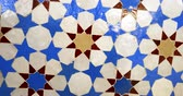 marroquino : Close-up rotation over beautifully crafted arranged patter of tiles inside the Strasbourg Great Mosque or Grande Mosquee de Strasbourg