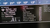 CALIFORNIA, UNITED STATES - CIRCA 2014: Focus to network, Temperature and Fans speed on CPU and GPU = Apple Computers new desktop computer iMac current preferences reporting