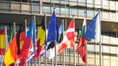 député : STRASBOURG, FRANCE - CIRCA 2018: Close-up of flags waving calmly in front of European Parliament headquarter facade building with flags of all member states waving