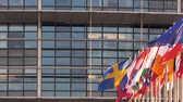 european court of human rights : STRASBOURG, FRANCE - CIRCA 2018: European Parliament headquarter facade building with flags of all member states waving - pan left to right newsworthy cinematic footage Stock Footage