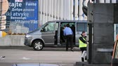 maçaneta : STRASBOURG, FRANCE - CIRCA 2018: Driver helping MEPs parliamentarians visitor guest entering Volkswagen van leaving the European Parliament during the plenary session Vídeos