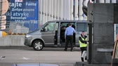 chauffeur : STRASBOURG, FRANCE - CIRCA 2018: Time-lapse fast motion MEPs parliamentarians visitor guest entering Volkswagen van leaving the European Parliament during the plenary session