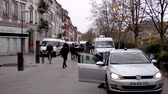 erőszak : STRASBOURG, FRANCE - DEC 8, 2018: Tens of CRS French Police vans and officers securing the pedestrian street zone on Quai des Bateliers street protection against Yellow jackets during Christmas Market