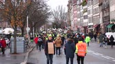 protester : STRASBOURG, FRANCE - DEC 8, 2018: crowd marching in Central Strasbourg at the nationwide protest Marche Pour Le Climate