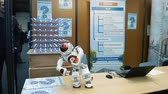 предметы : STRASBOURG, FRANCE - CIRCA 2018: Robot motion making diverse karate martial arts gestures at technical IT college stand during Education Fair