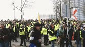 security measures : STRASBOURG, FRANCE - FEB 02, 2018: Man telling police to stay with the citizens during protest of Gilets Jaunes Yellow Vest manifestation on the 12 Saturday of anti-government demonstrations